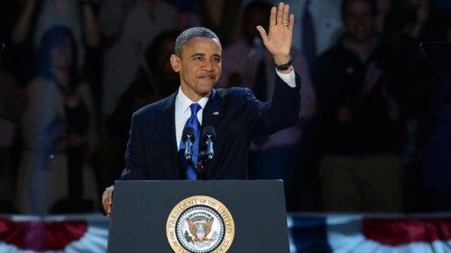 Barack Obama in a Podium
