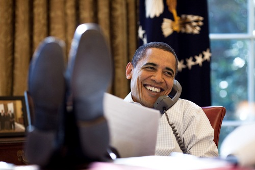 Barack Obama on a Phone