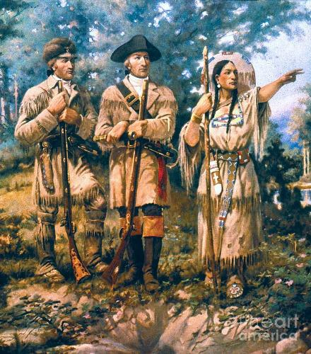 Sacagawea with Clark and Lewis