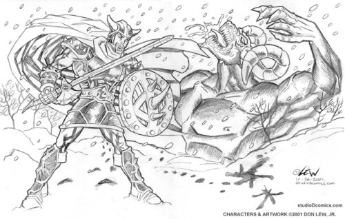 Beowulf fights