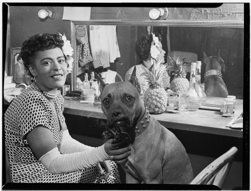 Billie Holiday and a dog
