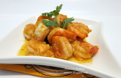 Prawns with Golden Salted Egg Yolk