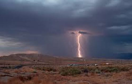 Lightning in desert