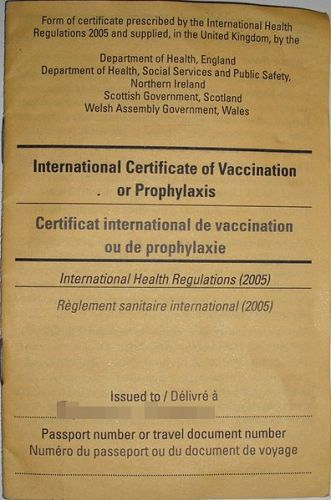 Yellow Fever Certificate